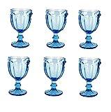 Vintage 6 Teile Set Schmetterlinge König Weinglas Glas Gläser Weingläser Wasserglas Longdrinkglas (blau)