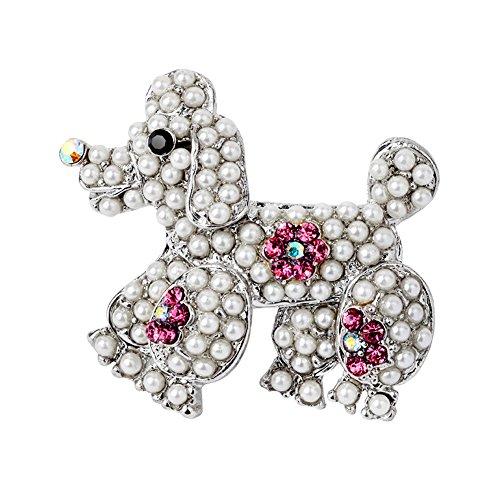 Fengteng Blume Pink Strass Perle Pudel Brosche Hund Damen Tier Abzeichen