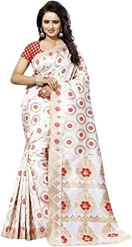 Vaansi Women Printed Raw Silk Saree With Blouse