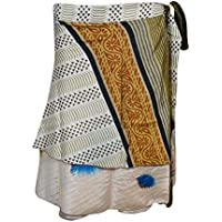 Mogul Interior Womens Wrap Around Skirt Printed Silk Sari Reversible Beach Short Skirts