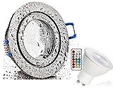 2xLed Feuchtraum Einbaustrahler eisengebürstet+RGB Led + warmweiß dimmbar mit Timer, memorie Funktion und Fernbedienung 230V