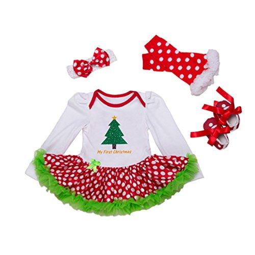 Anguang Baby Mädchen Weihnachten Spielanzug Outfit Tutu Kleid Bodysuit mit Stirnband Prinzessin Fancy Kostüm Stil 5 (Kostüm Sache 1 Tutu)