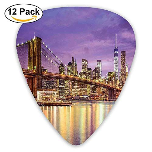 NYC Exquisite Skyline Manhattan Broadway Old Neighborhood Tourist Country Print Guitar Picks 12/Pack