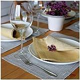 Linen & Cotton Tischsets/ Platzsets Herringbone OXFORD Natur/ Beige, 100% Leinen - 30 x 44cm (2 Stück)