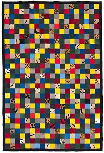 CarpetFine: Kuhfell Teppich 200x300 Multicolor - Kariert