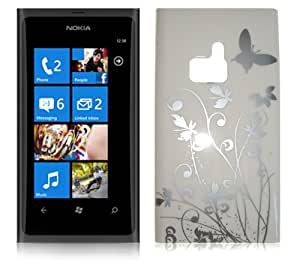 WHITE BUTTERFLY IMD HARD BACK CASE FOR NOKIA LUMIA 800 + FREE SCREEN PROTECTOR