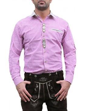 Trachtenhemd hemd für Lederhosen oktoberfest fashing brombeer/kariert