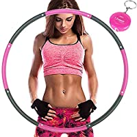 Aoweika Hula Hoop,Weighted 1 kg (2.2lbs) Foam Padded Fitness Exercise Adjustable Width(26.8-34.6in) for Adults with Randam Waist Ruler