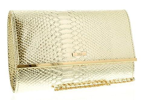 New Ladies/Womens Snake Skin Effect Metallic Clutch Bag - Gold - UK SIZE 1