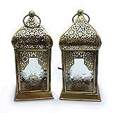 Deko Laterne Metall Glas Klar/Gold Teelicht Orientalisch Zum Stellen und Hängen set/2 Gall&Zick