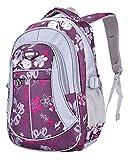 Unisex - Kinder Rucksack Schulrucksack Wasserfester Rucksack für Jungen Mädchen Schüler Daypack Schultasche Grundschule Backpack Großen Kapazität (Lila)