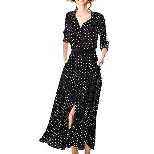 Kingko® Kleider Damen Elegante V-Ausschnitt Polka Dots Casual Hemdkleid Shirt Kleid Oberteil Kleid Maxikleid mit Gürtel (M, Schwarz) (Junior Kleidung Bluse)