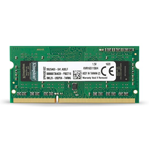 Kingston KVR16S11S8/4 Arbeitsspeicher 4GB (DDR3 Non-ECC CL11 SODIMM 204-pin, 1.5V) (8 Gb Ddr3-1600-notebook-ram)
