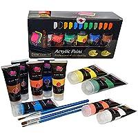 Crafts 4All - Pittura acrilica professionale, set da 12colori acrilici XL (75ml), kit per pittura su tela, legno, argilla, tessuto, unghie, ceramica e artigianato. Per studenti e professionisti