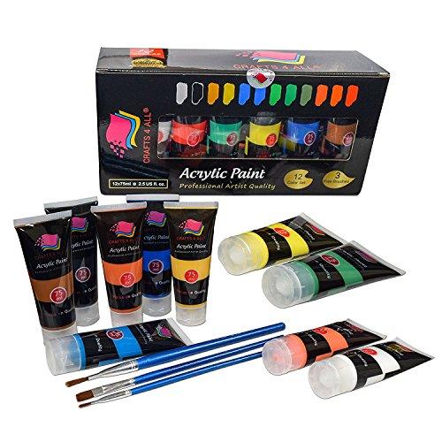 Acrylfarbe Studio Farben Set Professionelle Malerei Kit für Leinwand, Holz, Ton, Stoff, Nail Art, Keramik & Kunsthandwerk. Studenten & Profis Crafts 4 ALL(12X75 ML große Röhrchen)