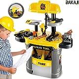 BAKAJI Banco Lavoro per Bambini Giocattolo con Attrezzi Fai da Te Suoni Realistici 64 Pezzi Tool Set con Vano a Due Zone Porta Attrezzi
