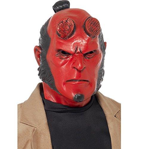 Smiffys Herren Höllenjunge Latex Maske, Ganzer Kopf, One Size, Rot, (Erwachsenen Hellboy Kostüme)