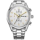 BUREI Herren Armbanduhr Saphirglas Quarz Uhren Analog Uhr Edelstahl Armband elegante Herrenuhr mit Datum BM-7005 (Weiß-gold)