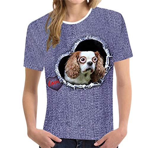 CUTUDE Damen T Shirt, Bluse Kurzarm Loses lässiges Sommer Rundhalsausschnitt Lustige 3D Print Drucken Blau Weste Oberteil Top Mode 2019 ()