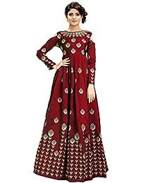Siddeshwary Fab Women's Taffeta Silk Anarkali Gown (Free Size_Semi Stitched)