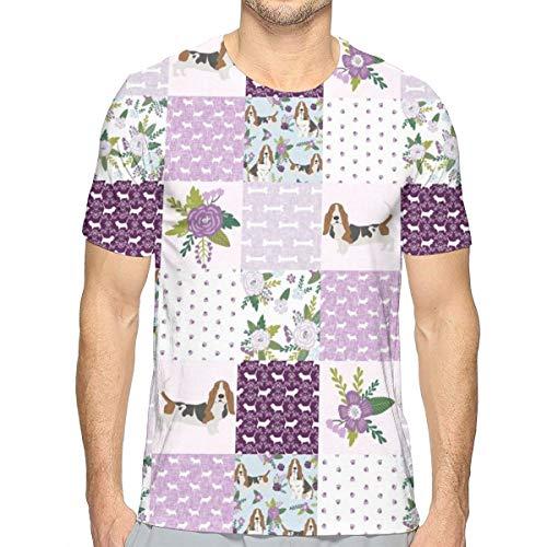 Basset Hound Haustier Quilt C Cheater Quilt Hunderasse Stoff Wholecloth_867 Mode Herren Rundhals Design Camouflage Kurzarm Slim Fit Casual T-Shirt S -