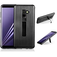 para Samsung Galaxy A8 Plus Case, HengJun TPU + PC Draw Bar Horizontal Vertical Diseño Creativo 2 en 1 Soporte Soporte sísmico Anti-Shock Doble Funda Protectora para Samsung Galaxy A8 Plus - Negro
