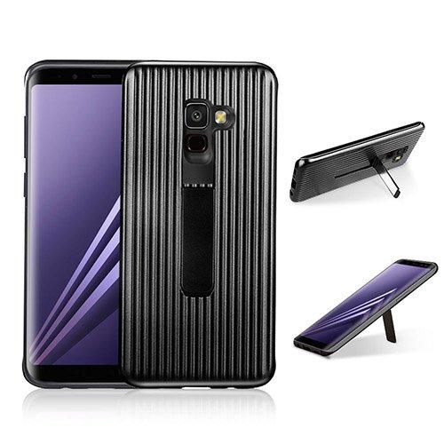 HengJun Für Samsung Galaxy A8 Plus Fall, TPU + PC Drawbar Horizontale Vertikale Creative Design 2in1 Stand Bracket Seismic Anti-Schock Doppel-Schutzhülle für Samsung Galaxy A8 Plus - Schwarz
