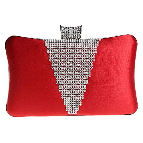 MNBS Damen Abendtasche Clutch Handtasche mit künstlichen Diamanten Strass Glitzer auffällig in 6 Farben elegant