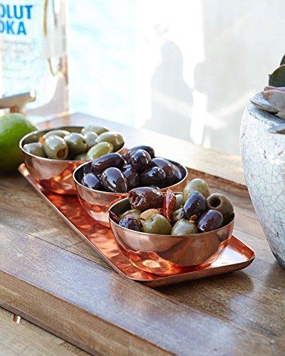 Relish Tablett mit Servierschalen 4-teilig gehämmert Gewürzheber für Vorspeisen, Süßigkeiten, Nüsse und Dips, edles Serviergeschirr Set, Kupfer Relish Dish