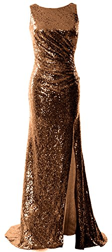MACloth Women Cowl Back Sequin Formal Party Gown with Slit 2017 Maxi Prom Dress Braun