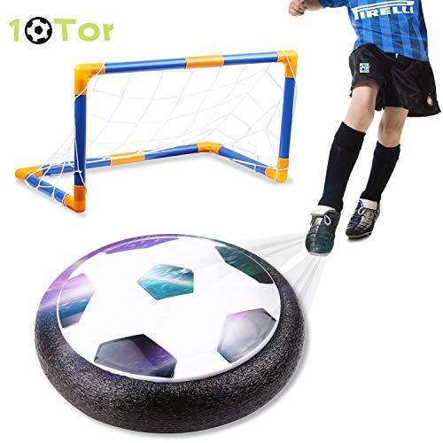 amzdeal Air Power Fußball Set, Luftkissen Fußball mit Fußballtor für Indoor und Outdoor, Hover Ball mit LED Beleuchtung, Perfektes Spielzeug für Kinder Jungen Mädchen -
