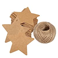 100 PCS Gift Kraft Tags, 6 cm *6 cm Hang Paper Kraft Tag with 30 Meters String Perfect as Wedding/Price Tags; Gift Label (Brown)