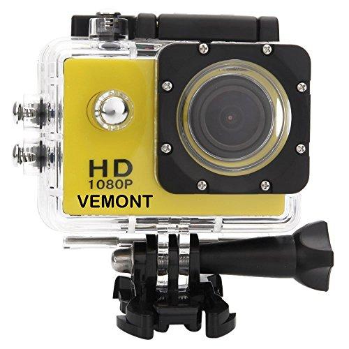 Vemont 1080p 12MP Action Kamera Full HD 2,0 Zoll Bildschirm 30m/98 Fuß Wasserdichte Sports Kamera mit Zubehör Kits für Fahrrad Motorrad Tauchen Schwimmen usw (Gelb)