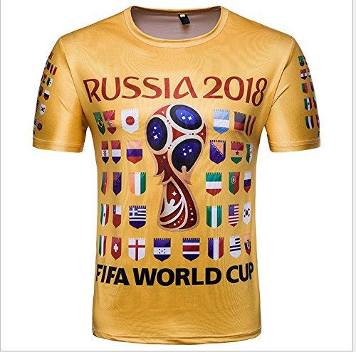 322363372 Ndier 2018 Russia World Cup T-shirt Gold 3D Print 32 Teams Flag Unisex Short