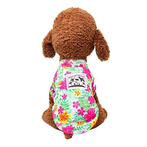 hund-Sommer-Hawaii-Blumen-Hemd-beiläufige atmungsaktive dünne Abschnitt-Kleidung(Grün,L) ()