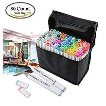 Togood, set professionale di pennarelli, 80colori differenti, pennarelli a doppia punta, fine e larga, per animazione, fumetti, design, tubo di colore bianco