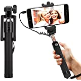 DMG Selfie Stick Wired + Foldable Mini Monopod with Rubber grip for Android Smartphones and iPhones (Multi-colour)