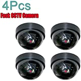 Cpixen 4 Pcs Dummy CCTV Dome Camera with blinking red LED light. For home or office Security
