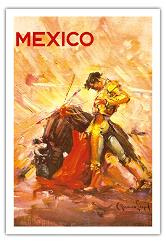 Pacifica Island Art Mexiko - Stierkampf Matador - Vintage Retro Welt Reise Plakat Poster von Carlos Ruano Llopisc.1944 - Kunstdruck - 76cm x 112cm