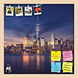 ArtzFolio New York City, Manhattan After Sunset, USA Printed Bulletin Board Notice Pin Board cum Natural Brown Framed Painting 16 x 16inch