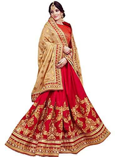 Purvi Fashion Georgette Saree With Blouse Piece (97034_Red & Beige_Free Size)