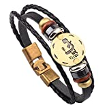 MJARTORIA Damen Herren Sternzeichen Armband Vintage Lederarmband Surferarmband Armreif Leder Geflochten Seil mit Perlen Sternbild (Jungfrau)