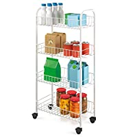 Metaltex Service Trolley Pisa with 4 Stages, Metal, White, 41 x 23 x 84 assembled