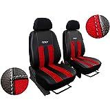 vord ersitzbezüge–Fundas para asientos de coche–Compatible con Renault Clio. Diseño Alcantara GT con ecoleder. Super Calidad, Set 1+ 1. En Esta oferta Rojo.