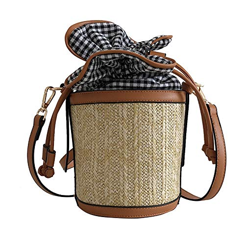 IJunge Imitation Straw Bucket Bag Plaid Bow Bow Schultertasche,Brown - Brown Plaid Bow