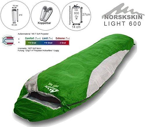 L Norskskin Light 600 Mumien Schlafsack 680 Gram Packmaß: ca. 27 X 14 cm (Links)