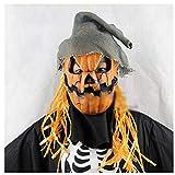 KYX-GAOMOUREN Halloween De Alto Grado Calabaza De Espantapájaros Máscara De Horror Máscara De Peluca De Baile Apoyos De Rendimiento del Partido