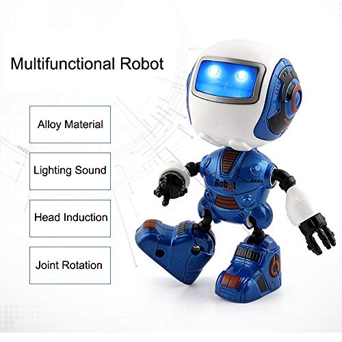 Hatime Multifunction Intelligent Induction Mini Robot, Sensing Touch  Multifunction Music Smart Mini Alloy Robot Kids Toys Gift (Blue)