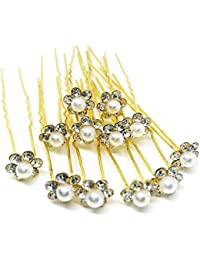 33ca810e14 HOC Bridal Hair Bun Pin Accessories/Fancy Golden Juda Pins with Pearl for  Women and