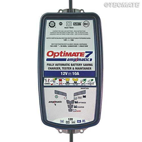 TecMate OptiMATE 7 Ampmatic TM254, Caricabatterie con recupero di batteria, manutentore e tester nove fasi 12 V 10A